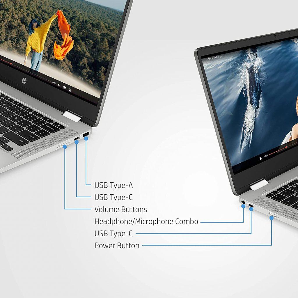 HP Chromebook x360 14a cb0007AU ports