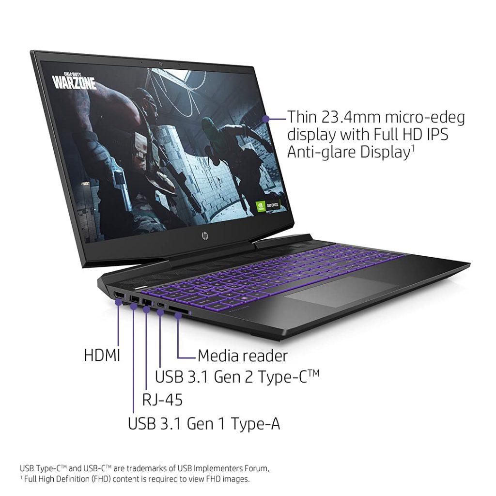 HP Pavilion Gaming 2021 15 dk2100TX ports