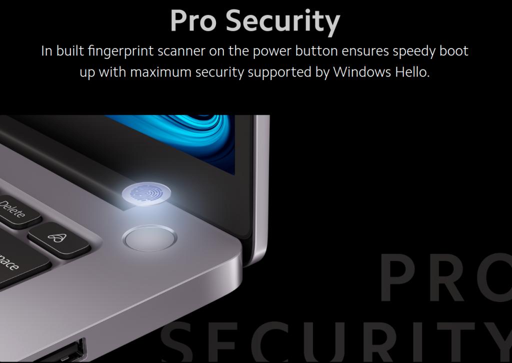 Mi Notebook Pro 2021 Fingerprint