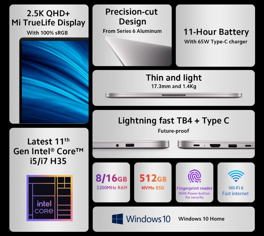 Mi Notebook Pro 2021 Specs