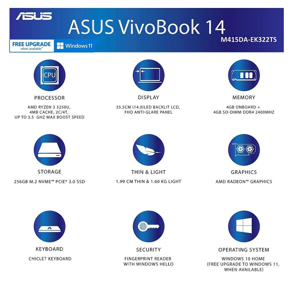ASUS VivoBook 14 2021 M415DA EK322TS specs