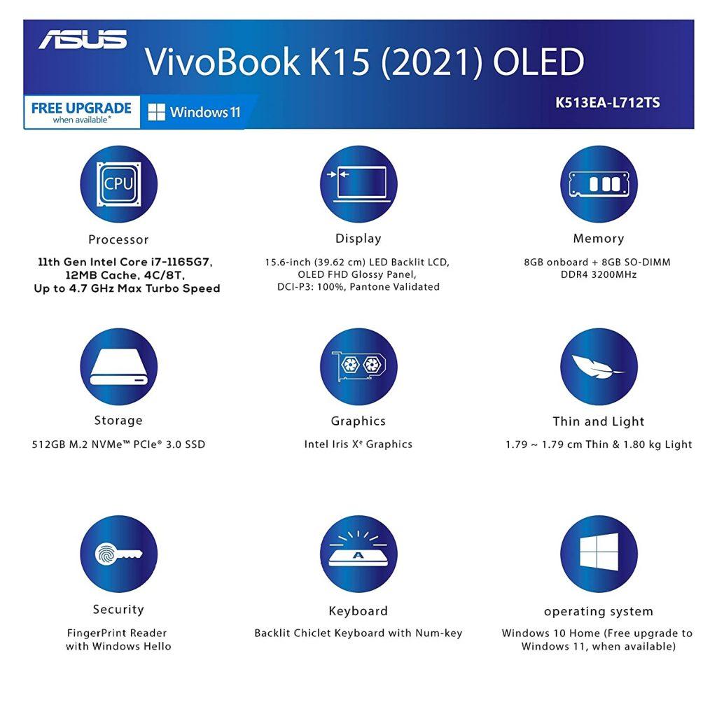 ASUS VivoBook K15 OLED K513EA L712TS Specs
